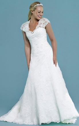 58082de7b5d Cap-Sleeve V-Neck Appliqued Long Lace Wedding Dress