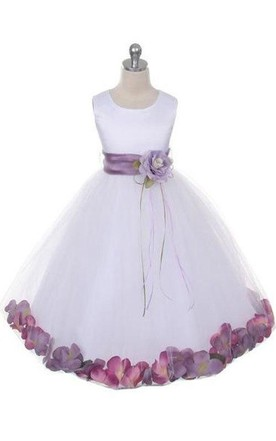 Satin Bust Pleated A-line Tulle Dress With Floating Petals and Organza Sash