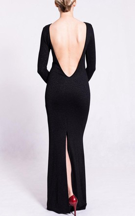 Long Scoop Jersey Dress With Split