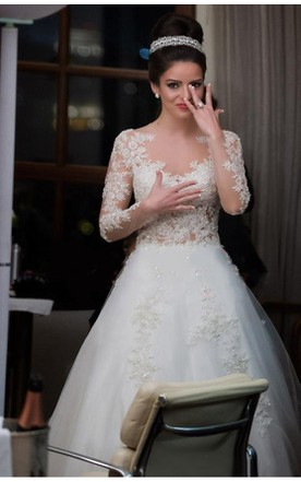 Beautiful Bateau Neckline A-line Tulle Dress With Lace Long Sleeve