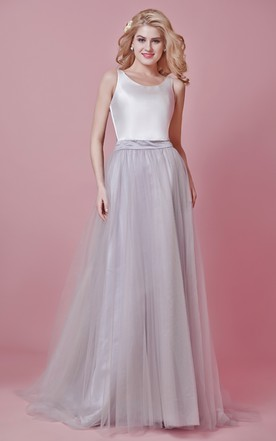 Scoop Neck Long Tulle Wedding Dress ...