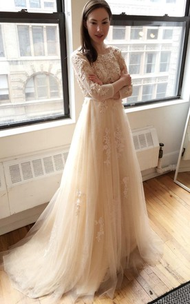 Light Creamy Champagne Long Sleeve Deep V Lace Wedding Dress ...