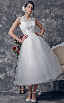 Simple white wedding dresses in various styles june bridals vintage style tea length bridal dress with scoop illusion neckline junglespirit Images
