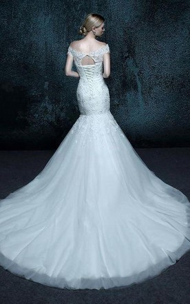 Mermaid Tulle Lace Weddig Dress With Beading Appliques