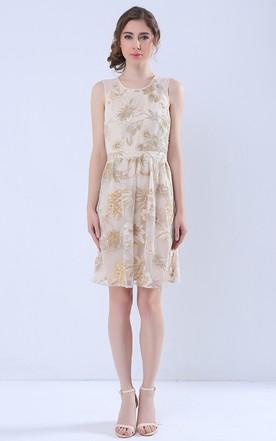 e22835ff55 Printed Keyhole Back Sleeveless Short Dress ...