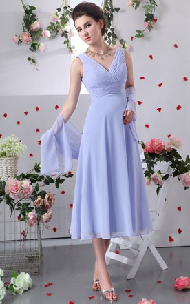 Tea Length Chiffon V Neck Dress With Crisscross Ruching
