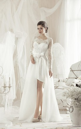 a85c0c04c A-Line Knee-Length Square Long-Sleeve Lace Dress With Bow And Appliques ...