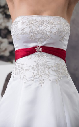 A-Line Satin Ball Gown with Embroideries and Broach