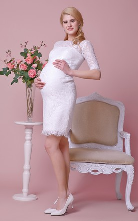 High Neck Allover Lace Knee Length Maternity Wedding Dress With Sash and Half Sleeves