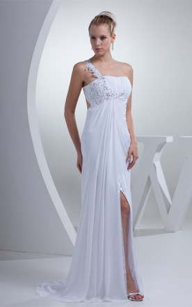 Chiffon Sleeveless Pleated Dress with Beading and Front Slit