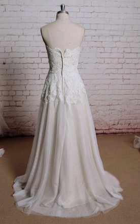 Sweetheart Lace Bridal Gown With Champagne Underlay and Pleats