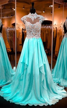 Luxurious Appliques Beadings 2016 Evening Dress High Neck A-line Zipper