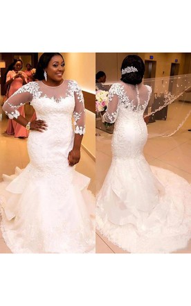 Plus Size Bridal Gowns With Short/Long Sleeves   Full Figured ...