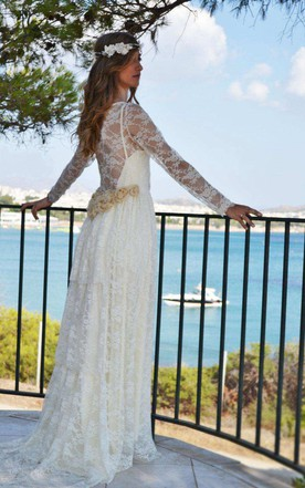 Scoop-Neck Lace Illusion Long Sleeve Wedding Dress With Pleats