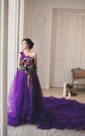 Stylish lavender wedding dress lilac wedding dresses june bridals glamorous one shoulder purple tulle prom dress 2018 new fashion cloud wedding gown junglespirit