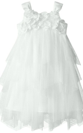 Toddler flower girl dresses baby flower girl dresses june bridals sleeveless a line tulle dress with flowers and bow mightylinksfo