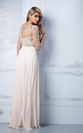 Fabulous Crystal-beaded Illusion Neckline Chiffion A-line Gown