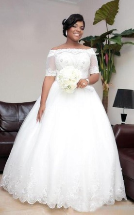 fc8e8149a4 Lace Off Shoulder Sheer Half Sleeves Beaded Lace Up Plus Size Bridal Gown  ...