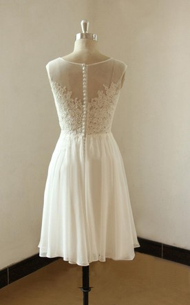 Mini Knee-Length Chiffon Lace Weddig Dress With Illusion