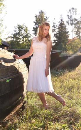 Plus Figure Tea Wedding Dress Large Size Mid Length Bridals Dresses