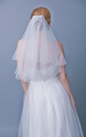 Scalloped-Edge Beaded Trim Two Tier Mid Length Veil