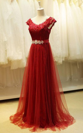 a88986fe90d V-neck A-line Dress with Beadings and Tulle Detail ...