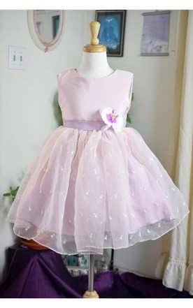 Satin Bodice Pleated Organza Layer Dress With Flower Sash
