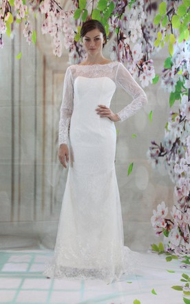 Bateau Neck Long Sleeve Lace Wedding Dress With V Back