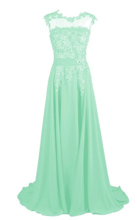 2fb187f1b08 Cap-sleeve Beaded Chiffon A-line Gown With Lace Appliques ...