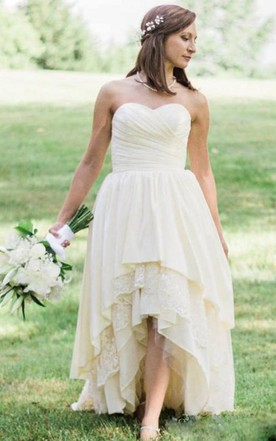 13d8cd1999 ... A Line Strapless High Low Lace Chiffon Backless Tiered Wedding Gown