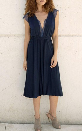 Cap-Sleeve Knee-length V-Neck Jersey Dress