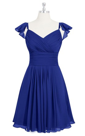 A-Line V-Neck Chiffon Dress With Crisscross Ruching and Pleats