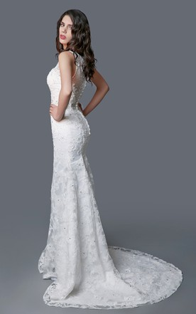 5e26284d1a ... Amazing V-neck Lace Mermaid Dress With Illusion Back
