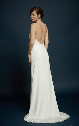 Silk Carmeuse Delicate Strap Bridal Gown With Slight Flare
