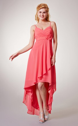 Sexy Sleeveless Empire Chiffon High-Low Dress With Spaghetti Straps