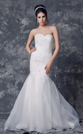 Trumpet Style Bridal Gown With Sophisticated Beadwork and Sweetheart Neckline