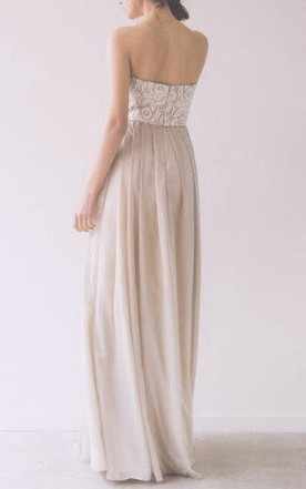 Sweetheart Floor-length Chiffon Dress With Lace Top