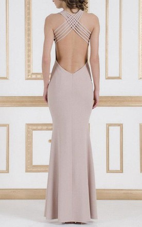 Long Evening Beige Open Back Sexy Fitted Flared At The Bottom Dress