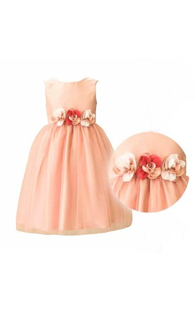 Sleeveless Jewel Neck Flower Waistline Pleated A-line Knee Length Tulle Dress With Satin Bodice