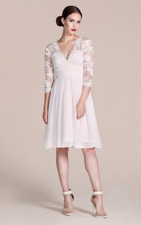 Long Sleeved V Neck A Line Short Wedding Dress