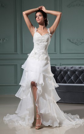 Sweetheart Sleeveless Slited Gown With Spaghetti Straps And Ruffles