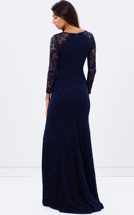 8750e523fe8 ... Split-Front Jewel Neck Long Sleeve Lace Bridesmaid Dress