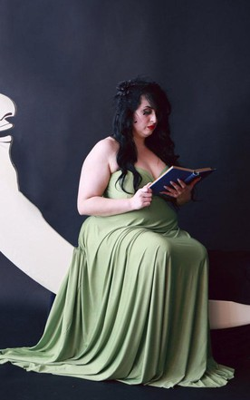 Fern Green Satin Jersey Octopus Convertible Infinity Wrap Long Maternity Plus Size 1920S Gatsby Flapper Style Dress