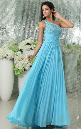 Chiffon Sleeveless A-Line Pleated Dress With Beaded Bodice