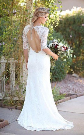 Mermaid Illusion Sleeve Satin Lace Button Zipper Keyhole Wedding Dress