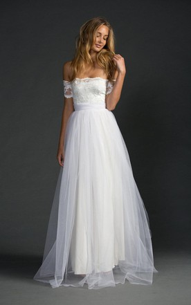 Grace Loves Strapless A Line Tulle Dress With Lace Bodice And Sleeves
