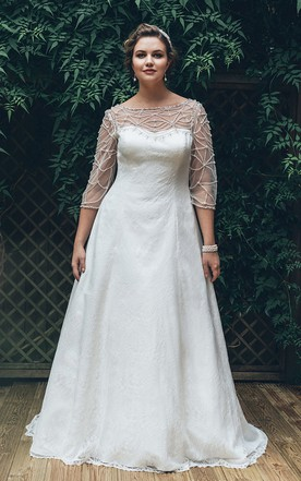Discounted long sleeve plus size wedding dresses june bridals a line long bateau neck 3 4 sleeve lace brush train illusion dress junglespirit Image collections