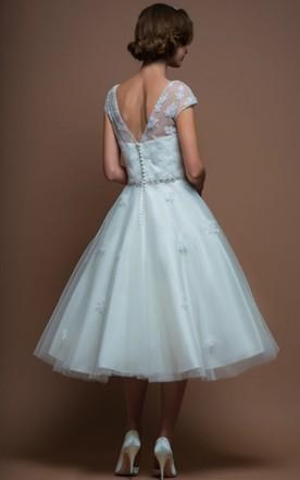 Knee Wedding Dress with Sleeve, Mid Length Sleeves Bridals Dresses ...