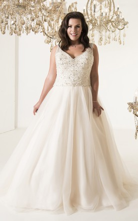 A-Line Long V-Neck Sleeveless Tulle Court Train Illusion Pleats Dress