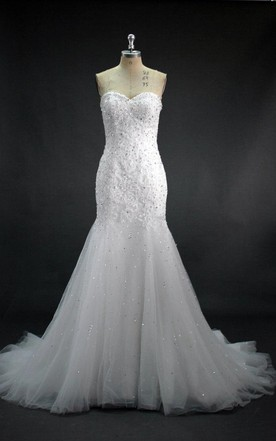 Sweetheart Beaded Mermaid Wedding Dress With Tulle Skirt